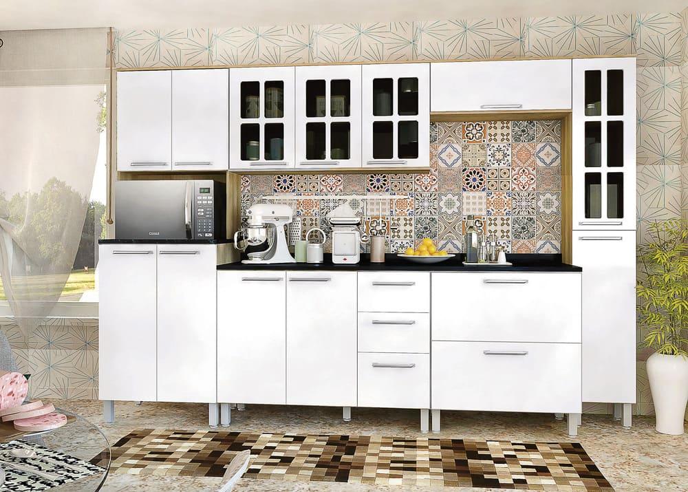Cozinha Completa Lara 7 Peças Carvalho/Branco Luciane.