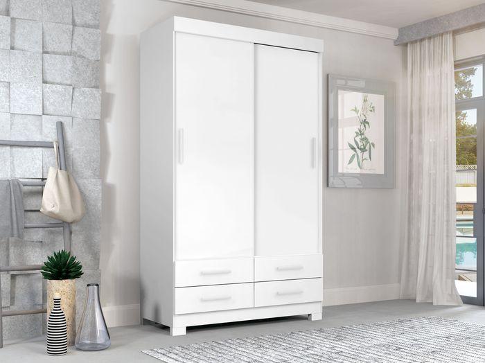 Guarda-Roupa 2 Portas / 4 Gavetas Ideale Plus Branco Ártico 09040204225 Zanzini