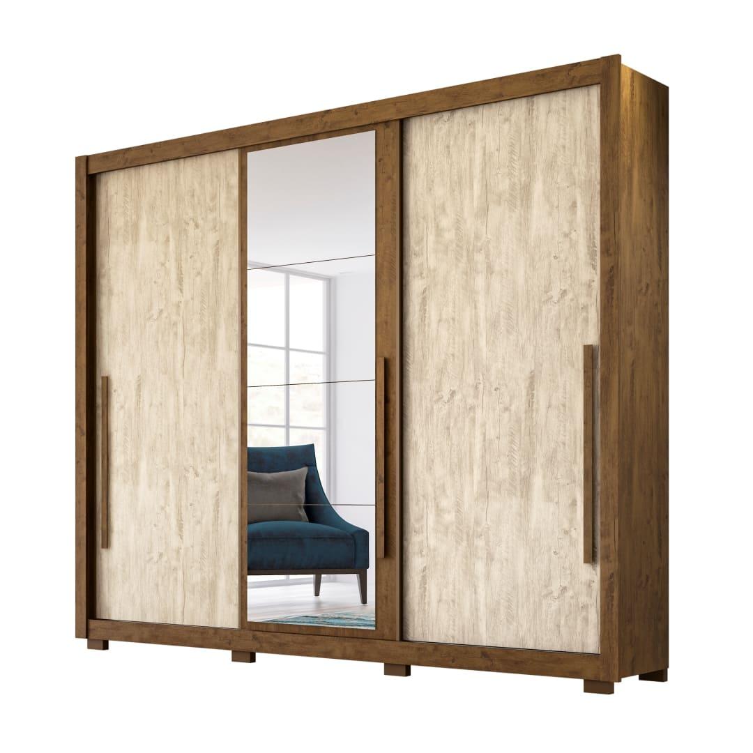 Guarda-Roupa 3 Portas Mônaco com Espelho Castanho Wood / Avela Wood  866381 Moval