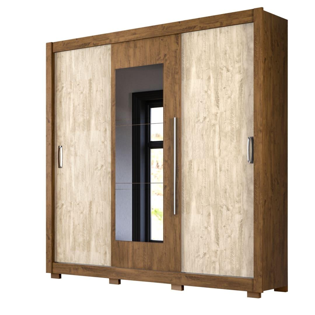 Guarda-Roupa 3 Portas Montreal Plus com Espelho Castanho Wood / Avela Wood 944381 Moval