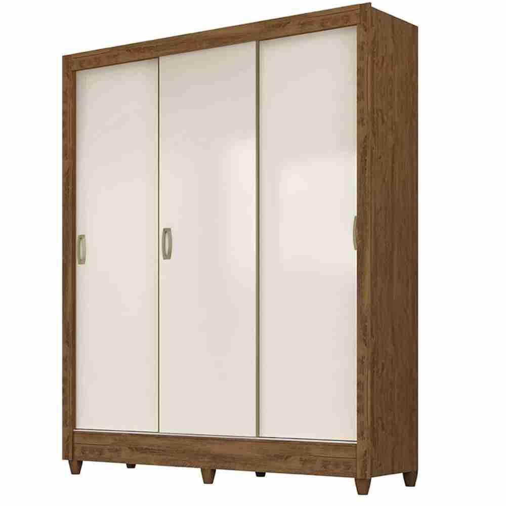 Guarda-Roupa 3 Portas Rebouças Castanho Wood/ Baunilha Flex 928391 Moval