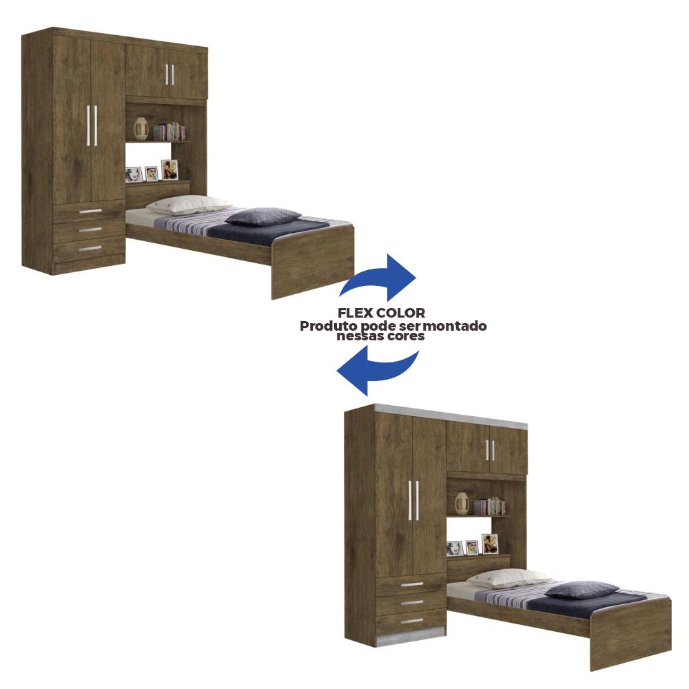 Guarda-roupa 4 Portas 3 Gavetas com Cama Baú Cancun Jequitibá/Jequitibá ou Avelã J&A