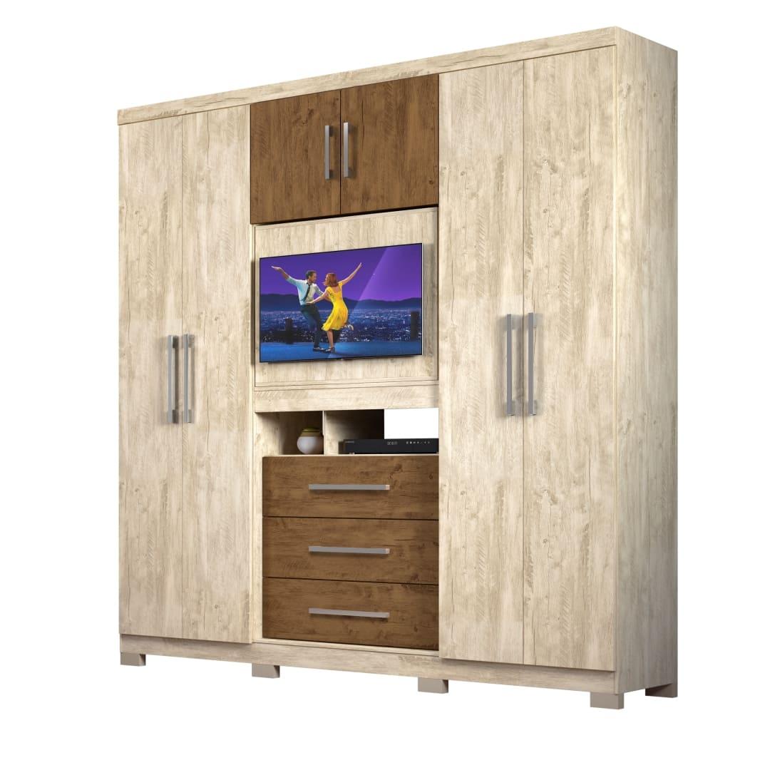 Guarda-Roupa 6 Portas 3 Gavetas Dubai Plus Avela Wood/Castanho Wood 942831 Moval