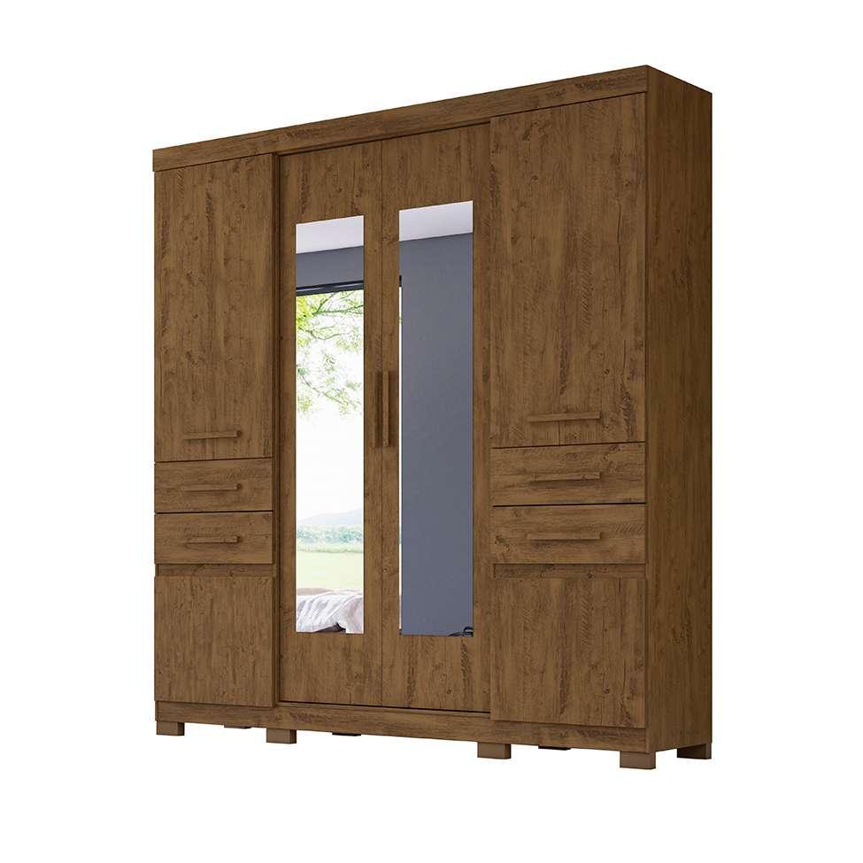 Guarda-Roupa 6 Portas 4 Gavetas Aracaju com Espelho Castanho Wood 906331 Moval