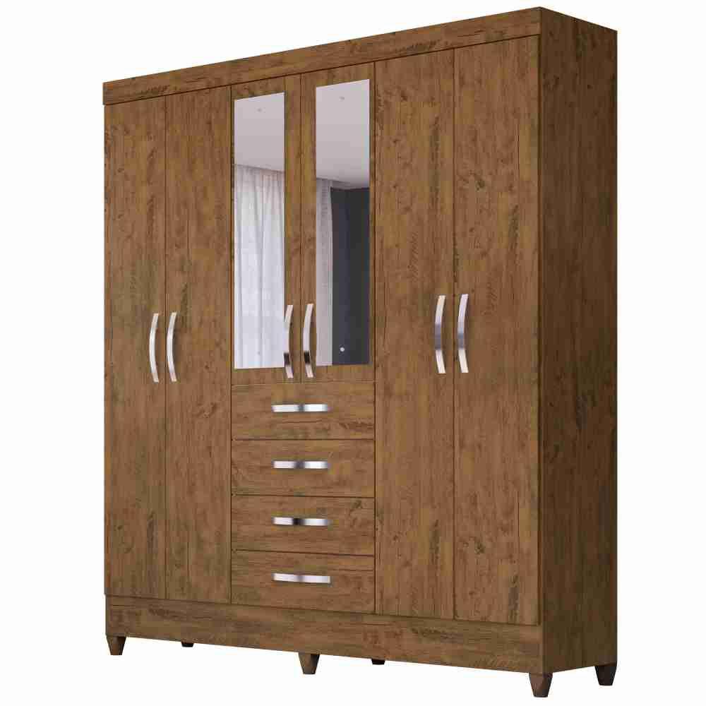 Guarda-Roupa 6 Portas 4 Gavetas Avai New com Espelho Castanho Wood 896331 Moval
