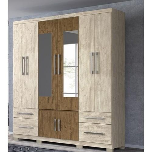 Guarda-Roupa 8 Portas 4 Gavetas Porto com Espelho Avelã Wood / Castanho Wood Moval