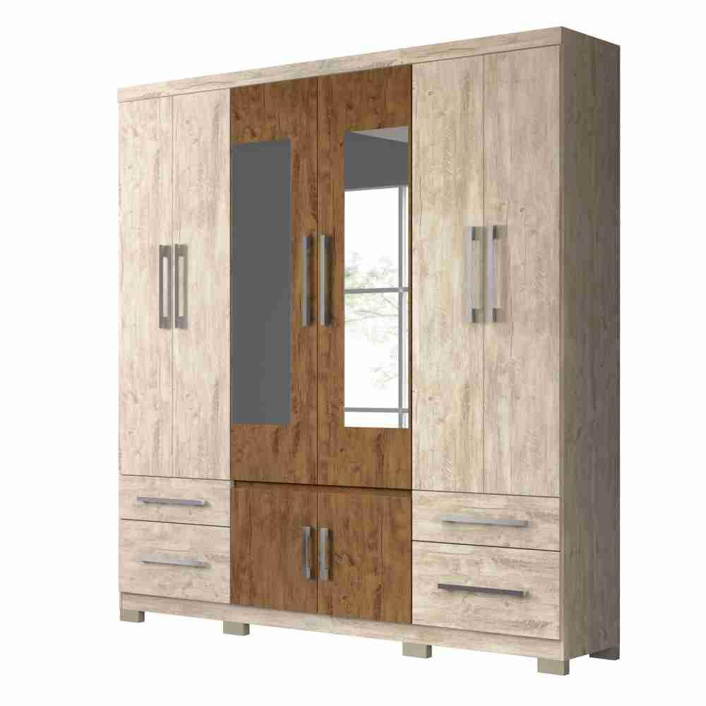 Guarda-Roupa 8 Portas 4 Gavetas Porto Plus Avela Wood/Castanho Wood 943831 Moval
