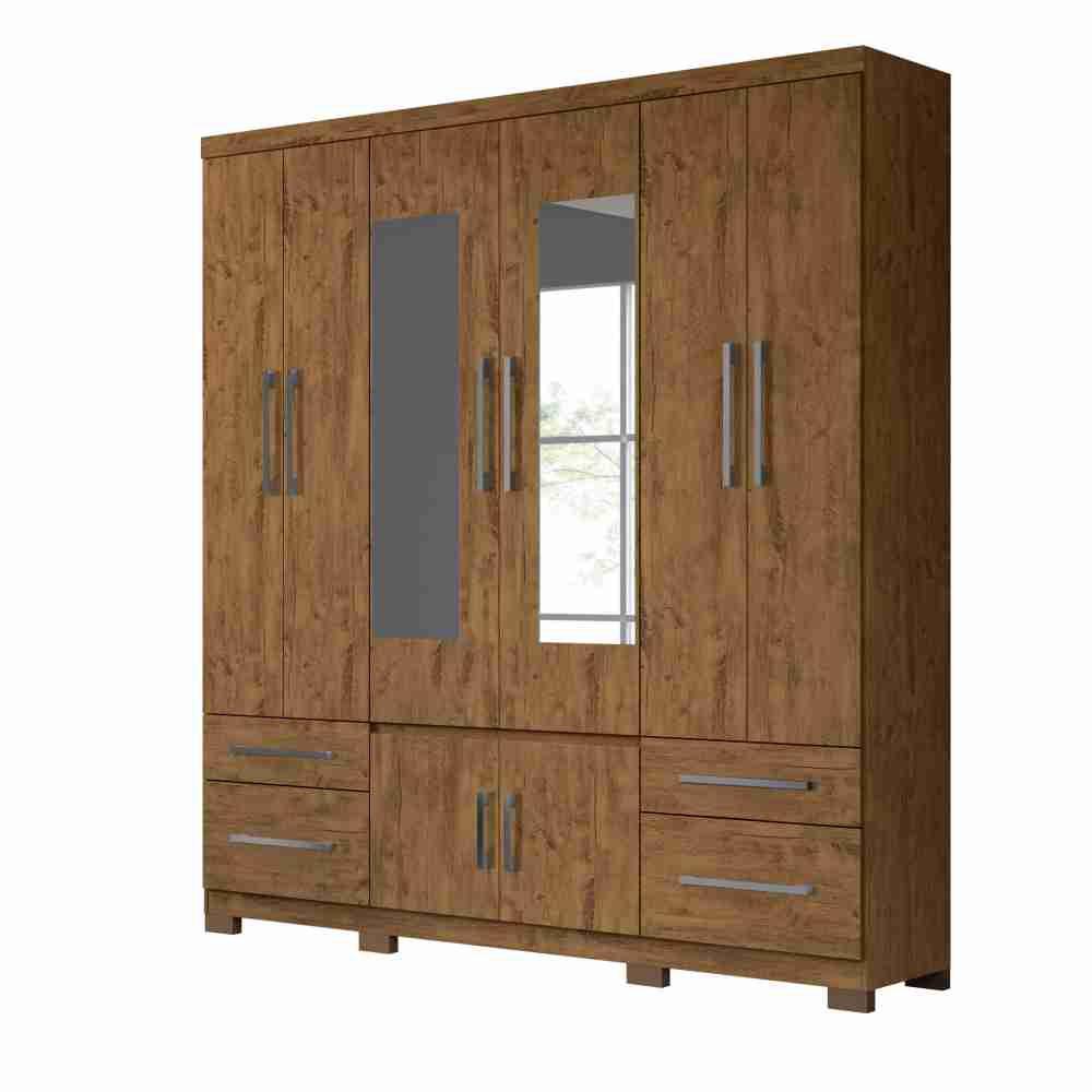 Guarda-Roupa 8 Portas 4 Gavetas Porto Plus com espelho Castanho Wood 943331 Moval