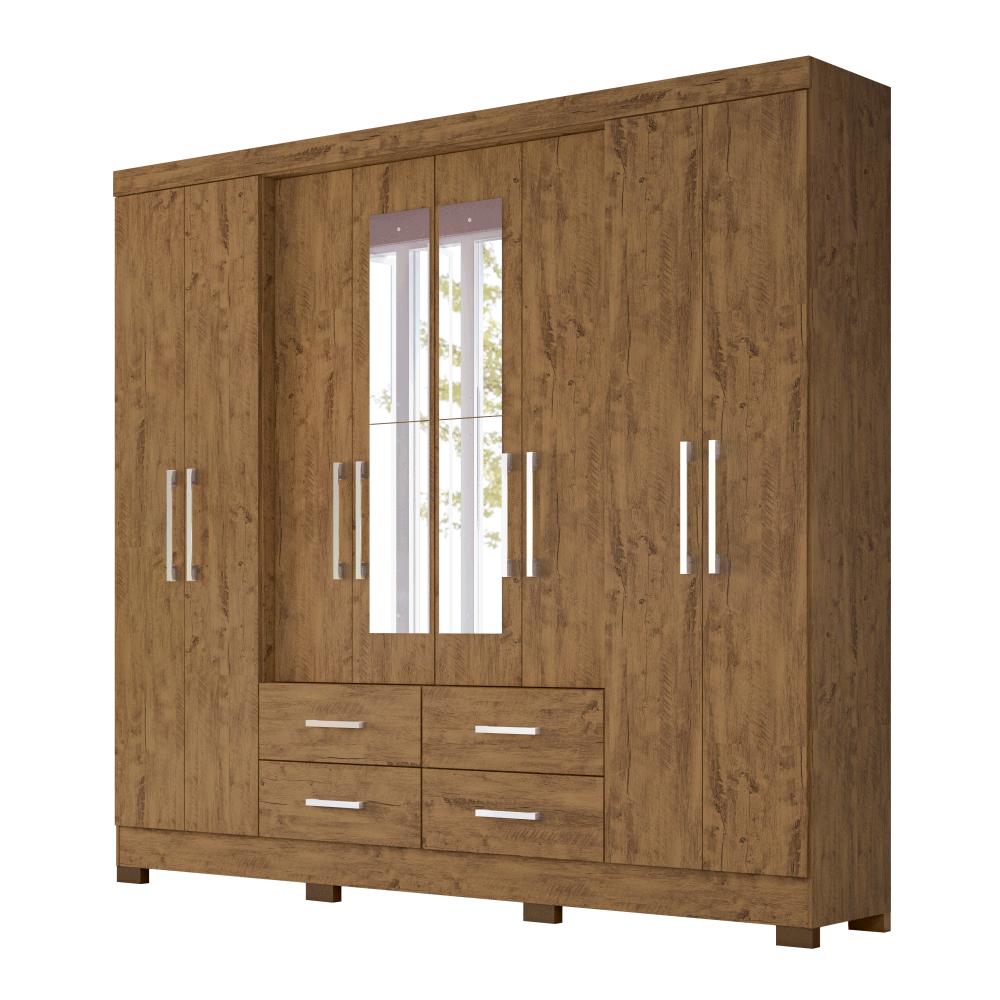 Guarda-Roupa 8 Portas 4 Gavetas San Lorenzo Plus com Espelho Castanho Wood 941331 Moval