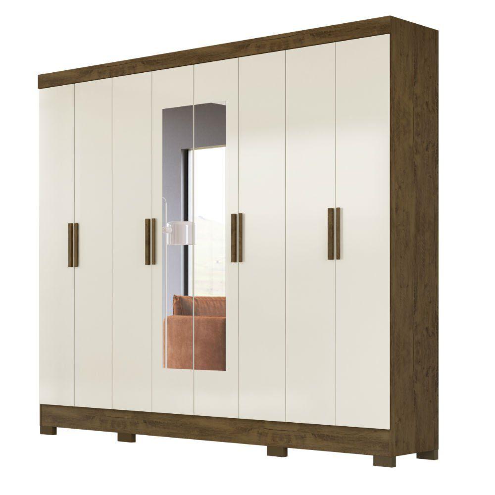 Guarda-Roupa 8 Portas Diplomata com Espelho Castanho Wood/Baunilha 911391 Moval