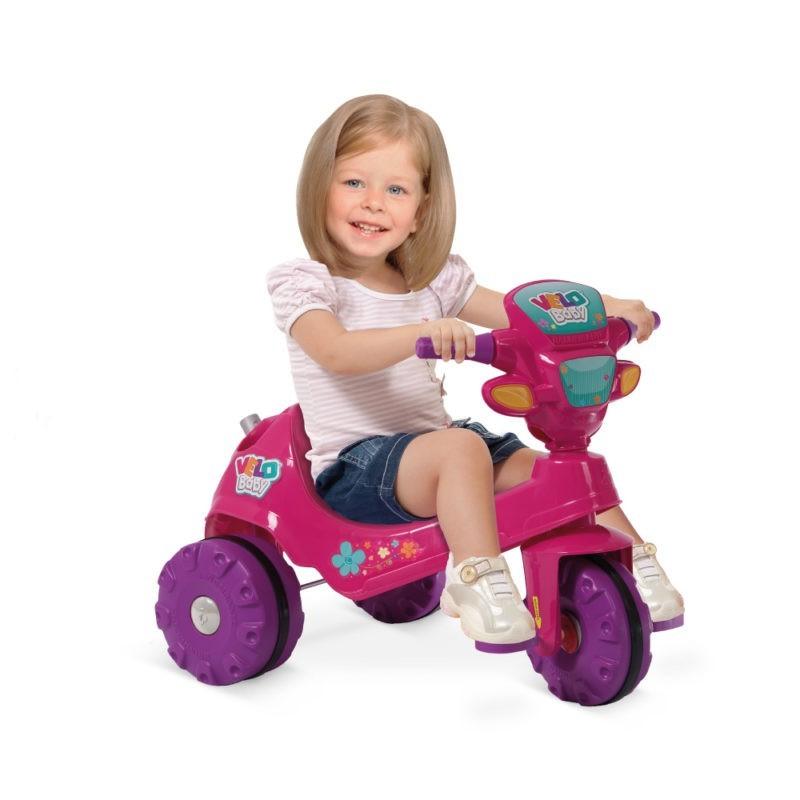 Triciclo Passeio e Pedal Velobaby 207 Rosa Bandeirante