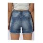 Shorts Feminino Crawling Jeans c/Ilhós e Cordão