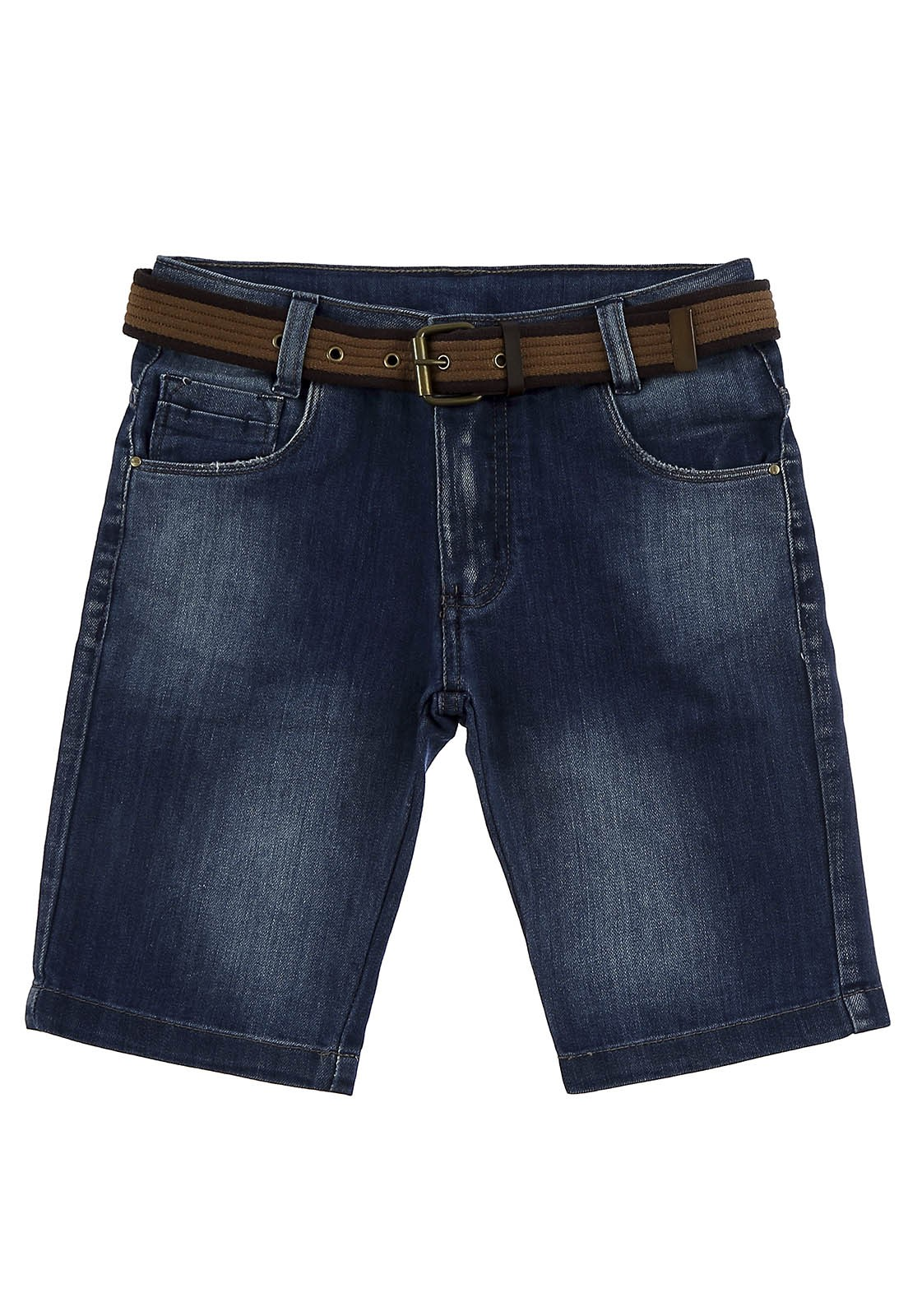 Bermuda C/Cinto Jeans Crawling Slim Azul