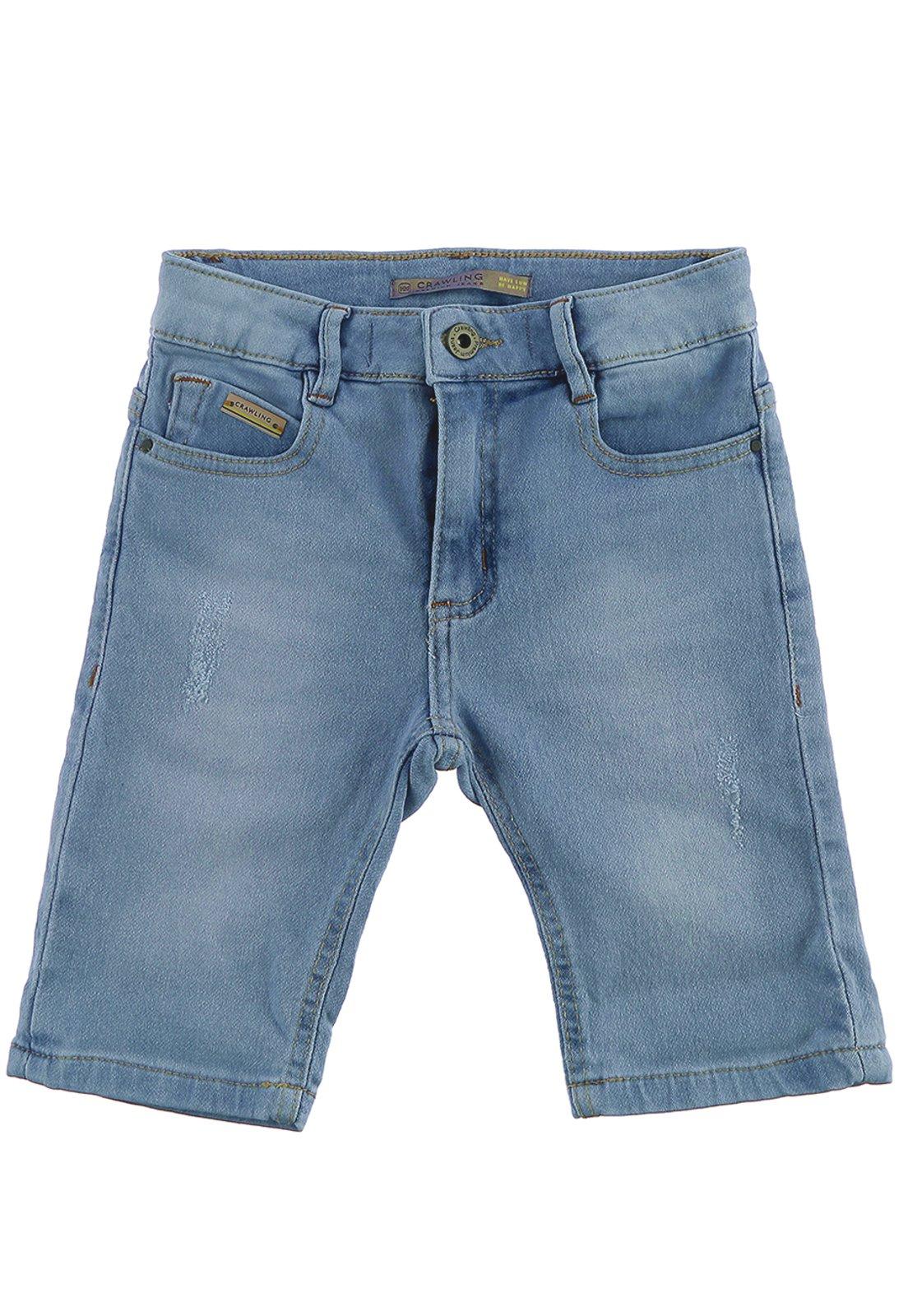 Bermuda Crawling Infantil Jeans Moletom Comfort