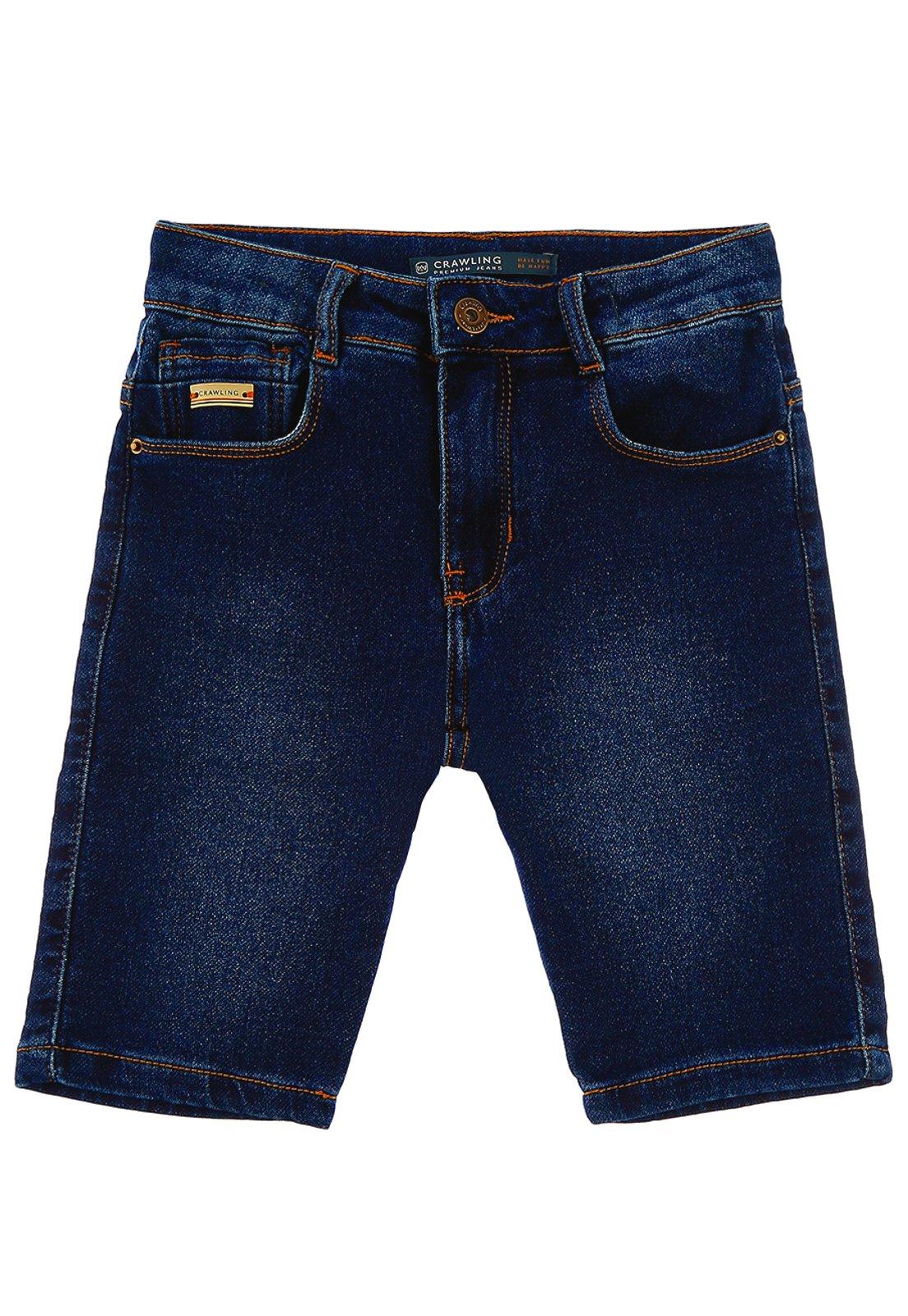 Bermuda Crawling Jeans Infantil Moletom