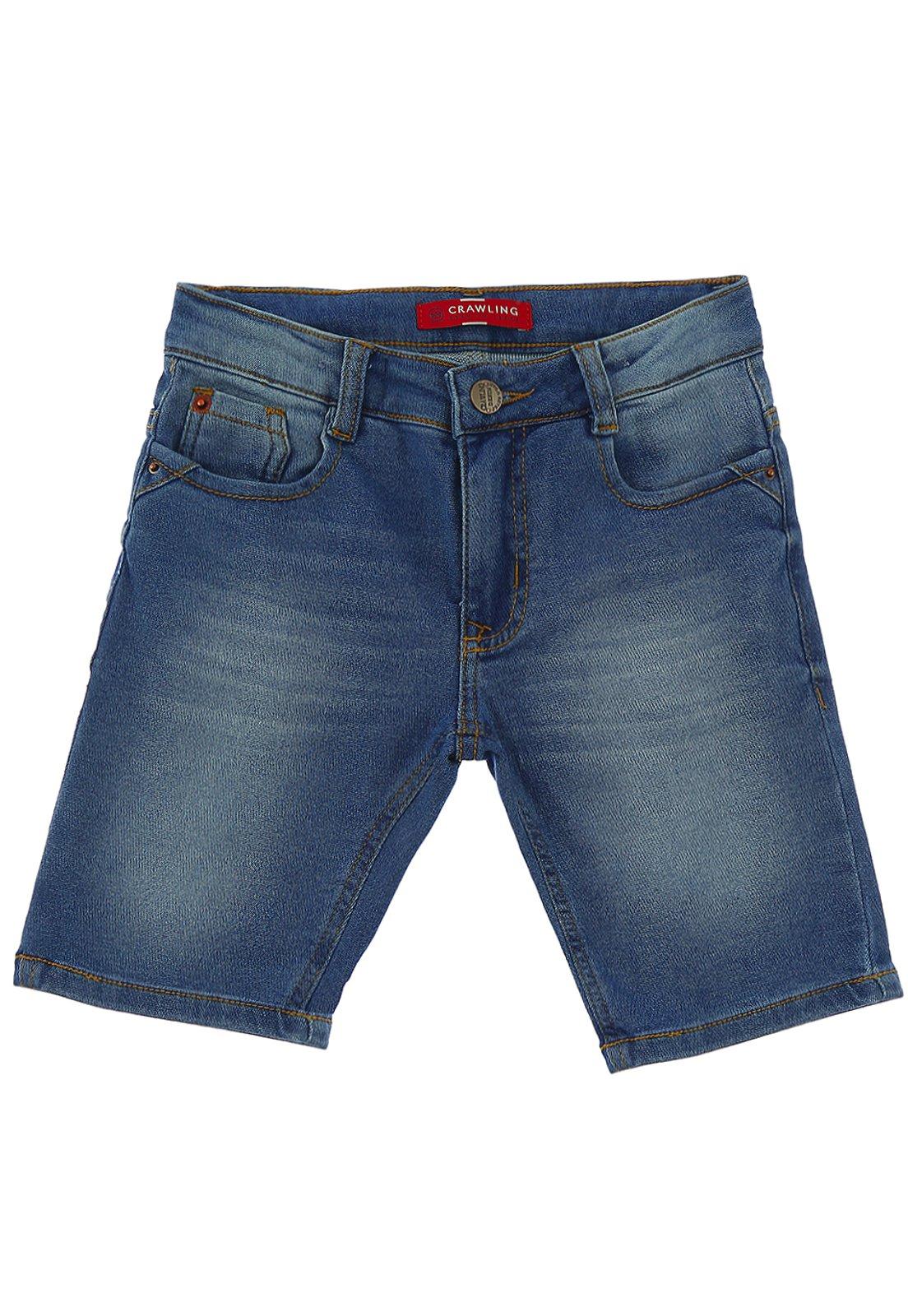 Bermuda Infantil Jeans Moletom Crawling Masculina