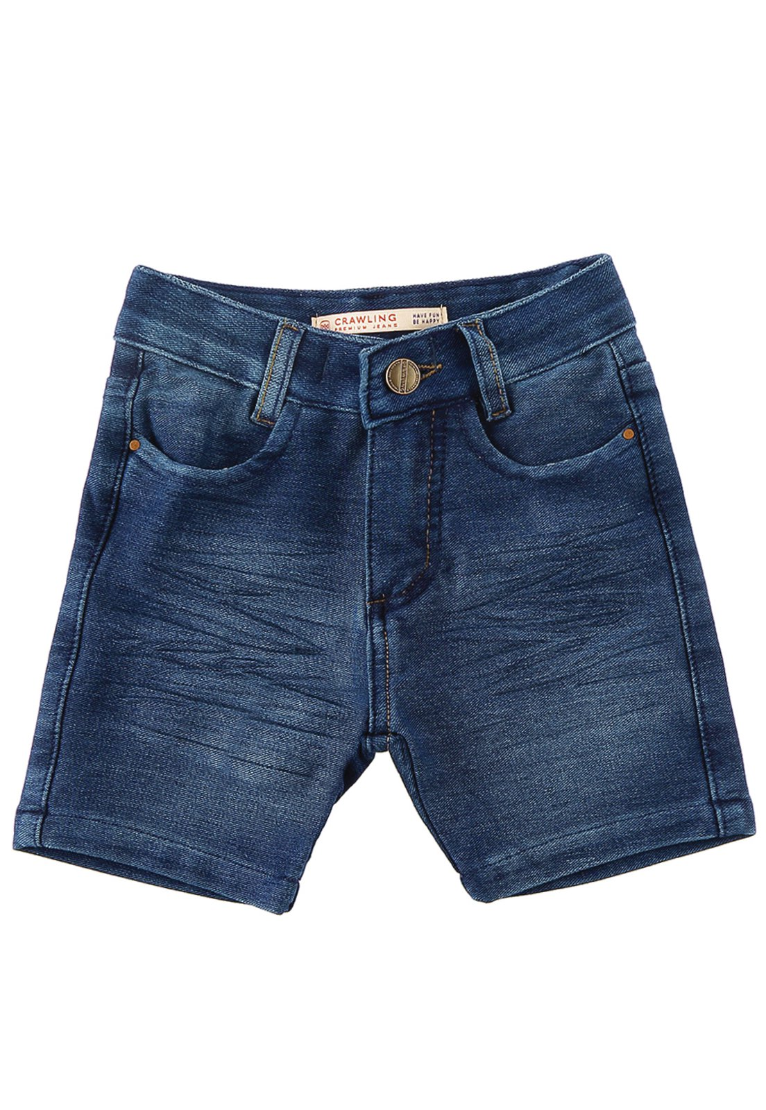 Bermuda Jeans Infantil Bebê Moletom Crawling Comfort