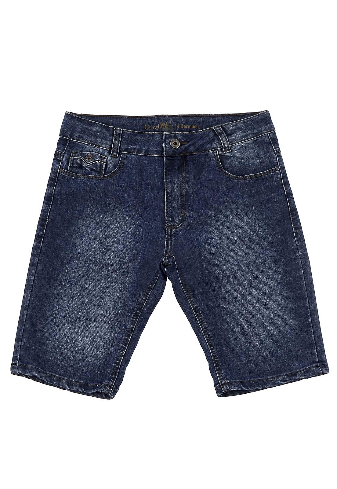 Bermuda Masculina Crawling Jeans Azul