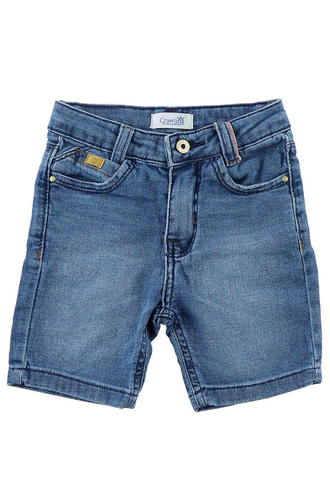 Bermuda Moletom Jeans Masculina Bebê Crawling