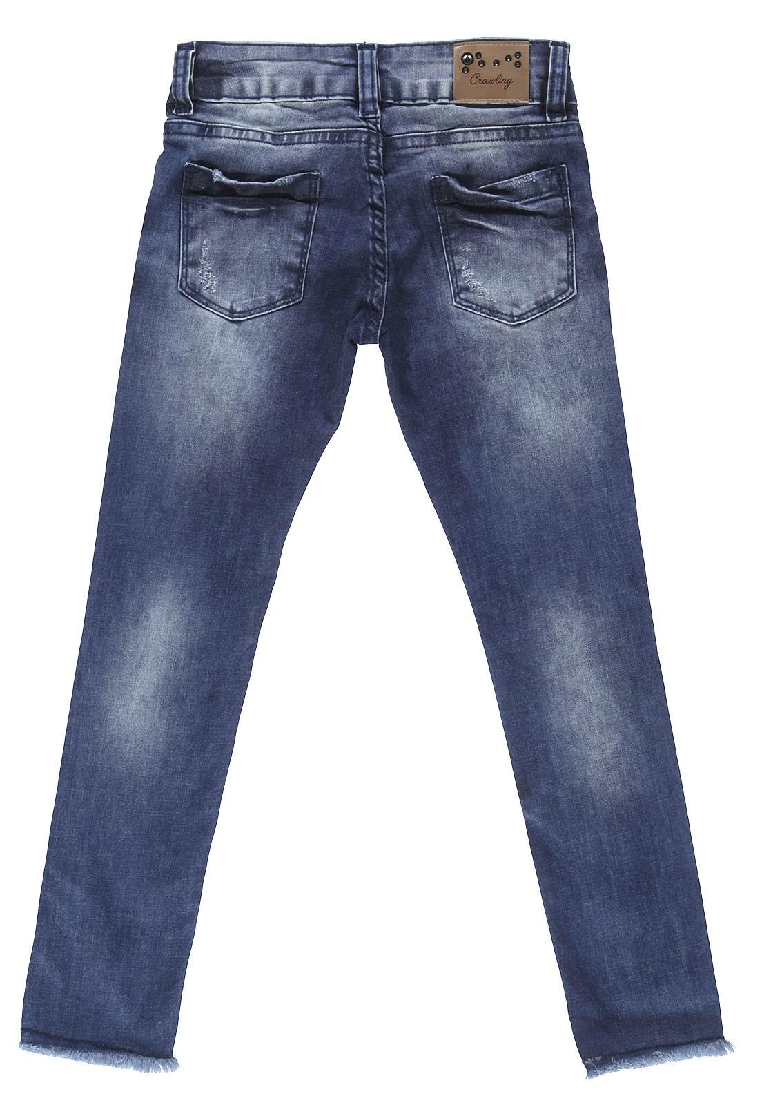 Calça Feminina Jeans Crawling Cropped Azul