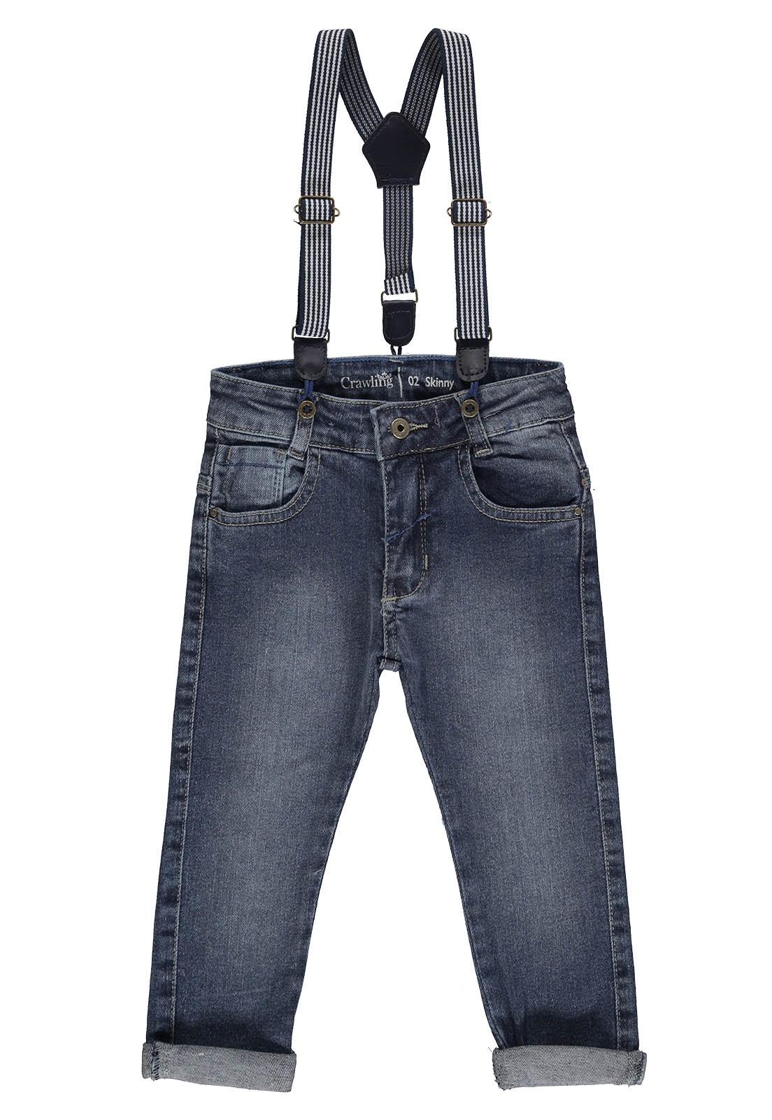 Calça Jeans Masculina Skinny com Suspensório