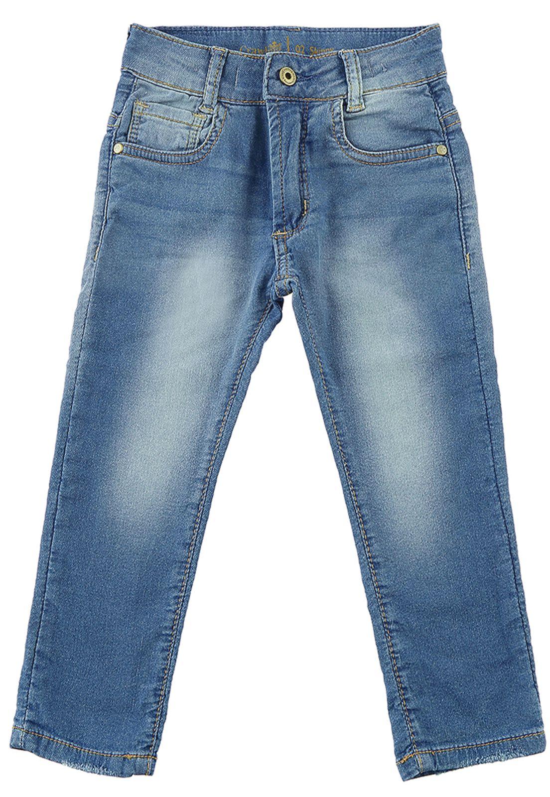 Calça Jeans Moletom Crawling Baby Boy