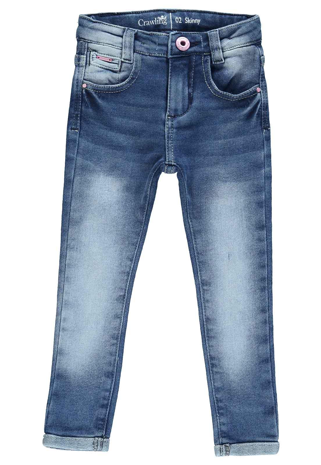 Calça Jeans Moletom Feminina Crawling Skinny Azul