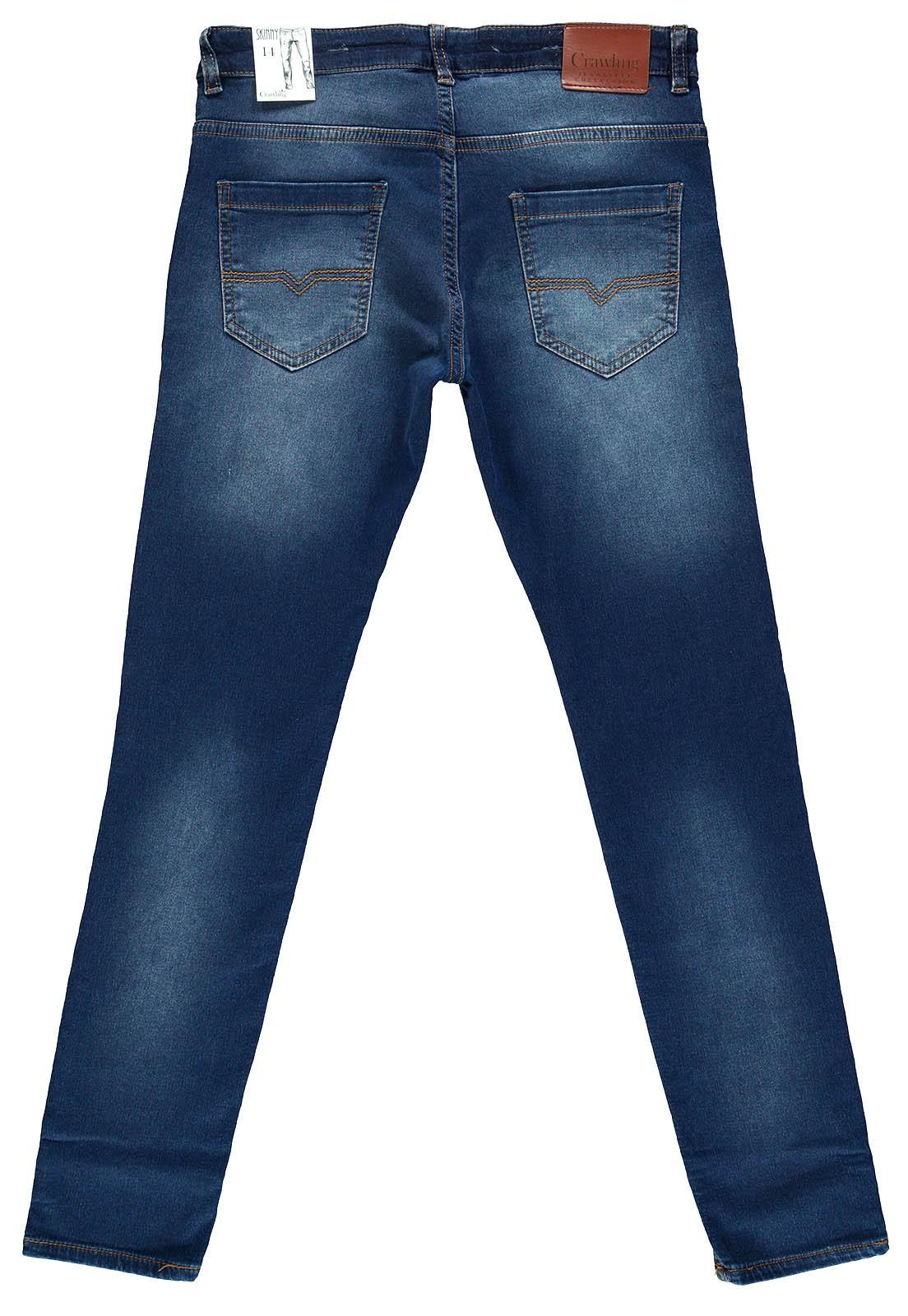 Calça Jeans Moletom Masculina Crawling Skinny