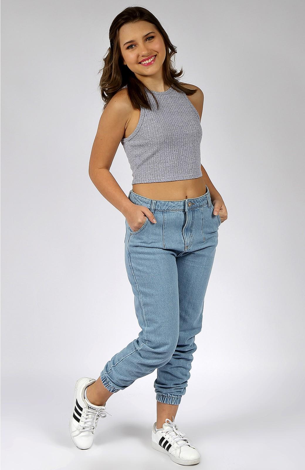 Calça Mom Feminina Jeans Jogger