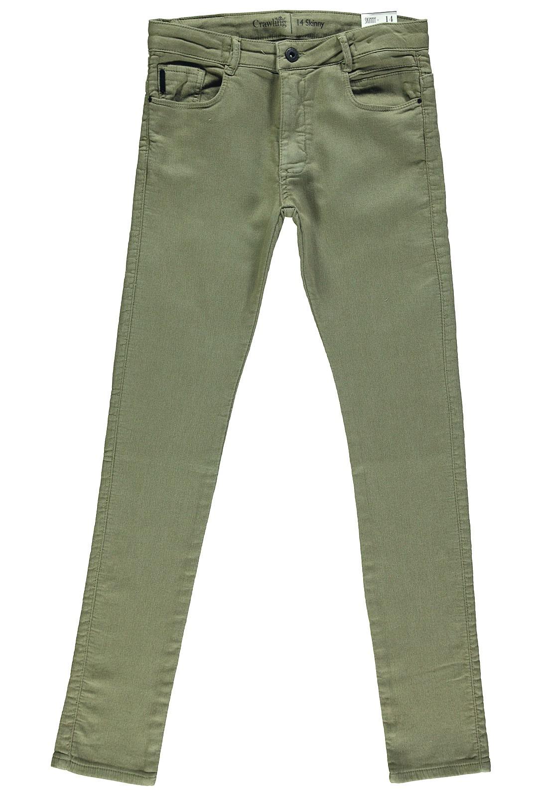 Calça Sarja Moletom Crawling Masculina Skinny Verde Militar