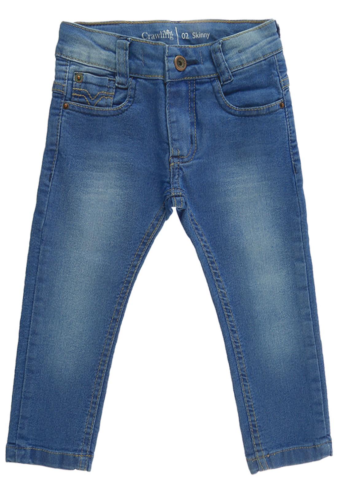 Calça Skinny Infantil Bebê Crawling Jeans