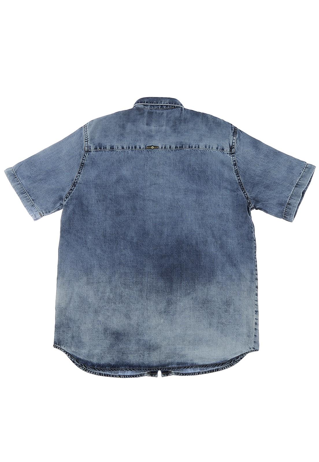 Camisa de Manga Curta Crawling Jeans Masculina