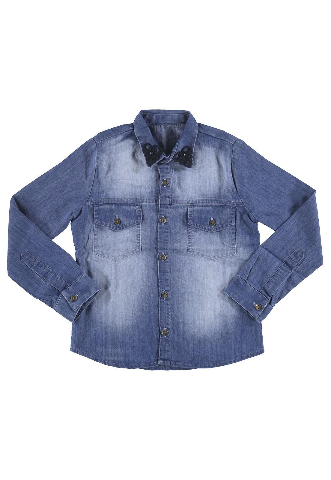 Camisa Jeans Crawling Menina com Aplicação na Gola - Tam. 04 ao 08