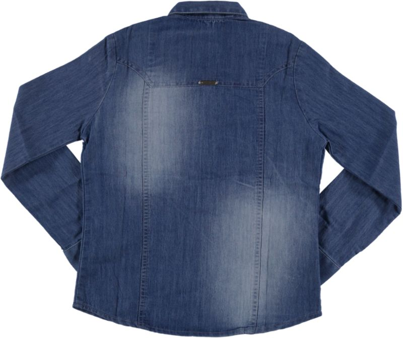 Camisa Jeans Feminina Crawling Manga Longa Azul