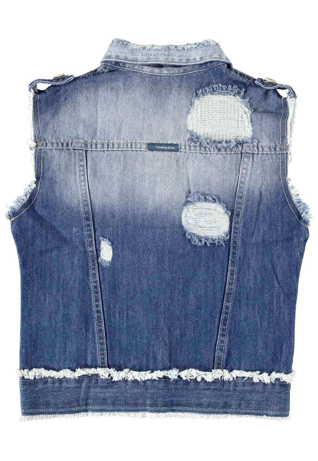 Colete Feminino Crawling Jeans C/Destroyed