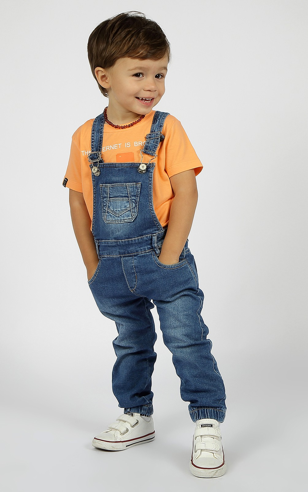 Jardineira Bebê Moletom Comfort Crawling Jeans