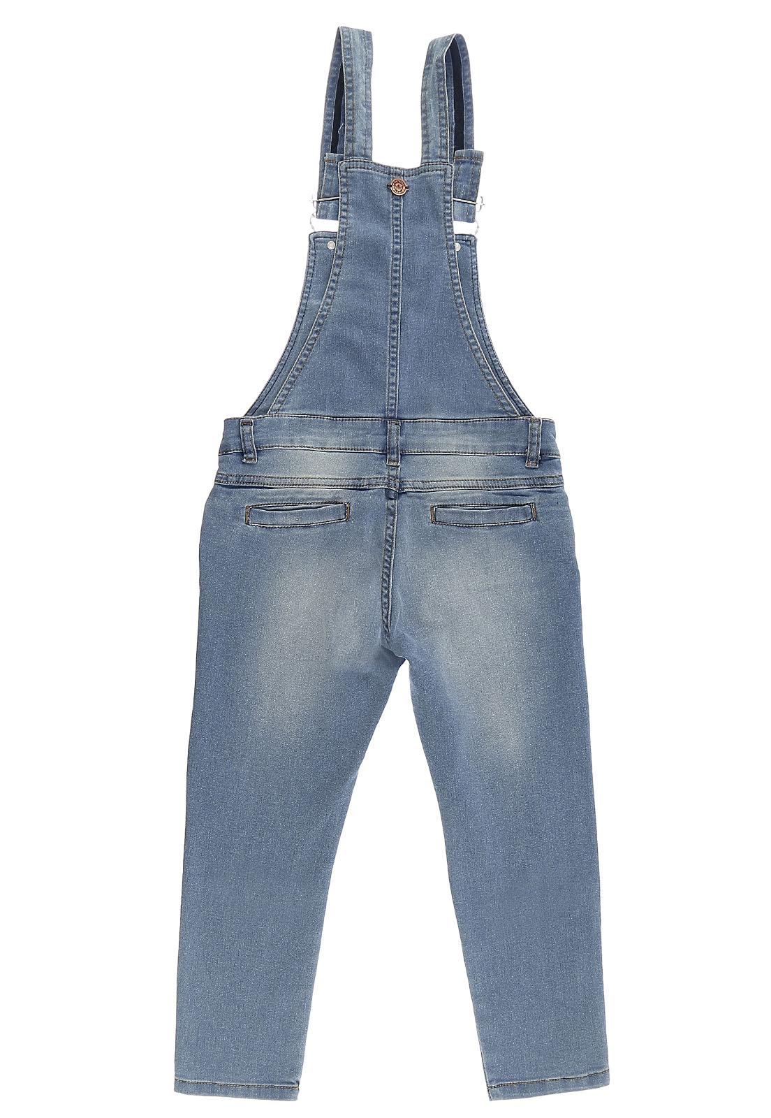 Jardineira Feminina Crawling jeans Cropped
