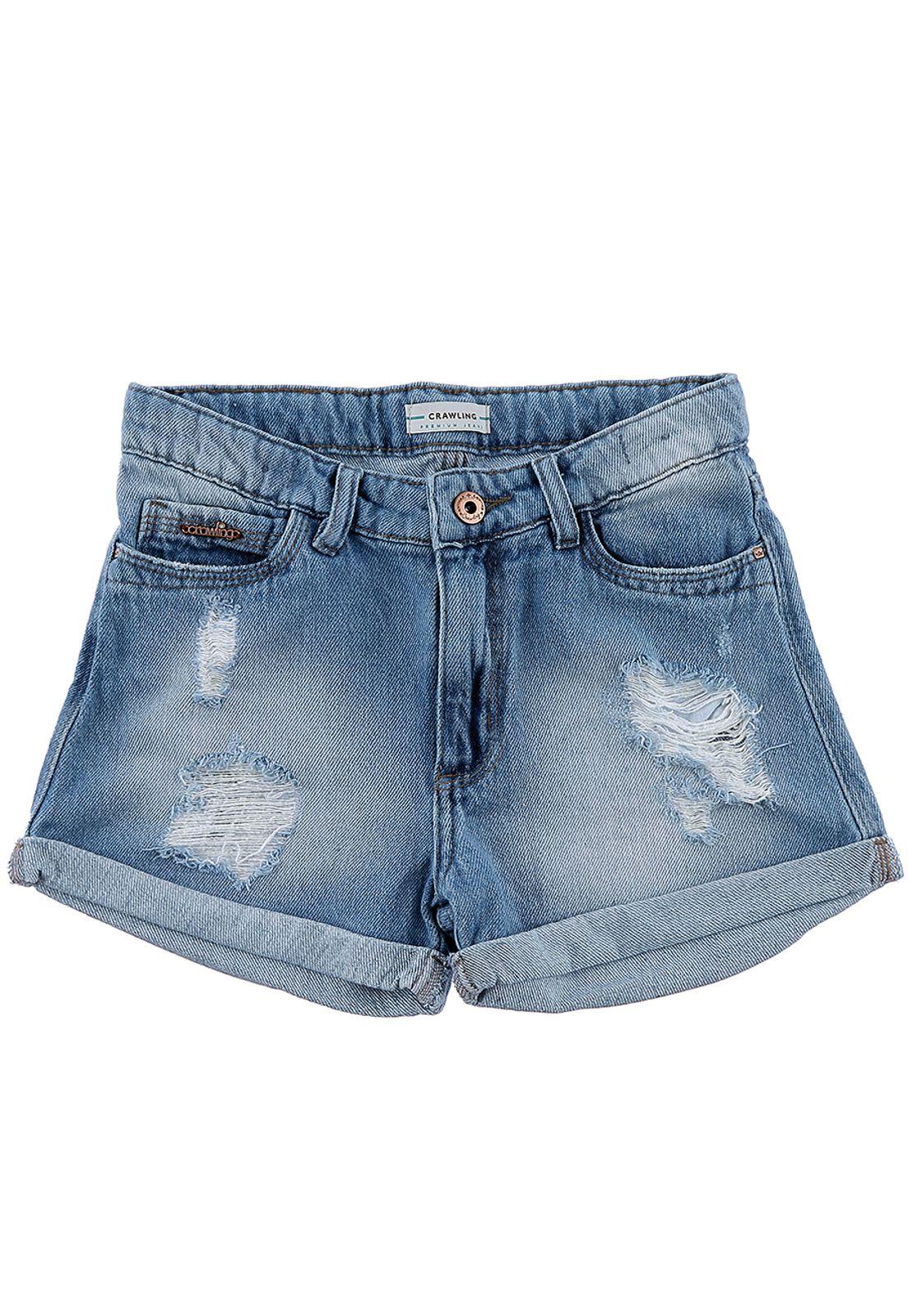 Short Feminino Comfort Destroyed Crawling Jeans