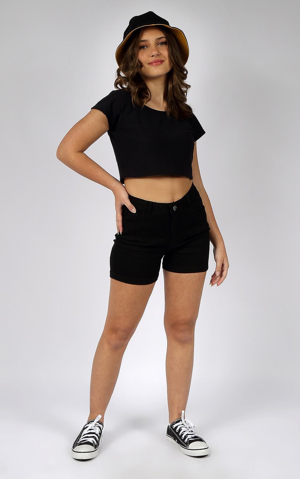 Short Feminino Crawling Jeans Black
