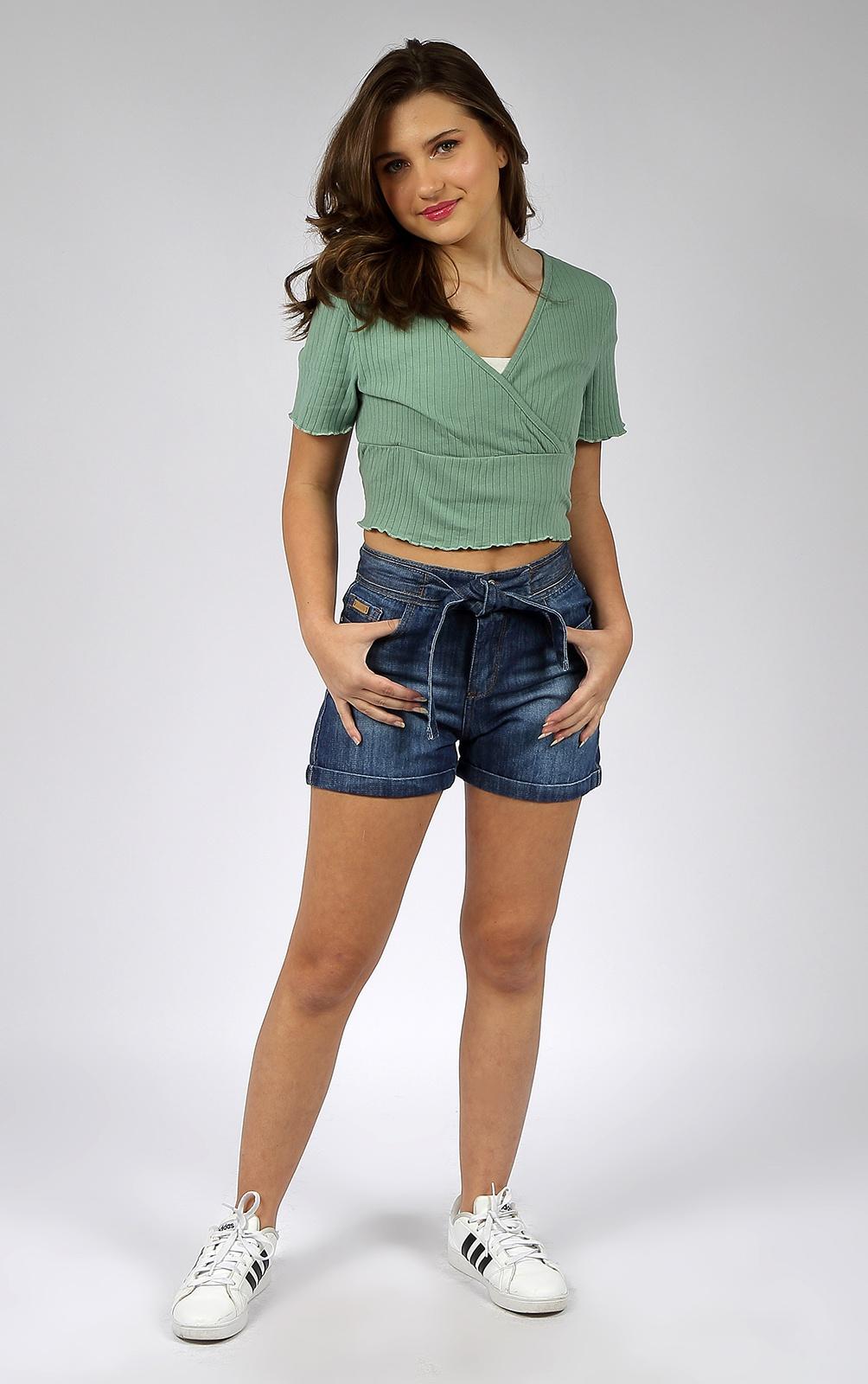 Short Feminino Crawling Jeans C/ Cinto Embutido