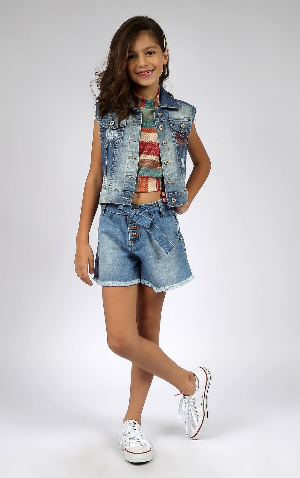 Short Infantil Feminino Godê Jeans C/Cinto