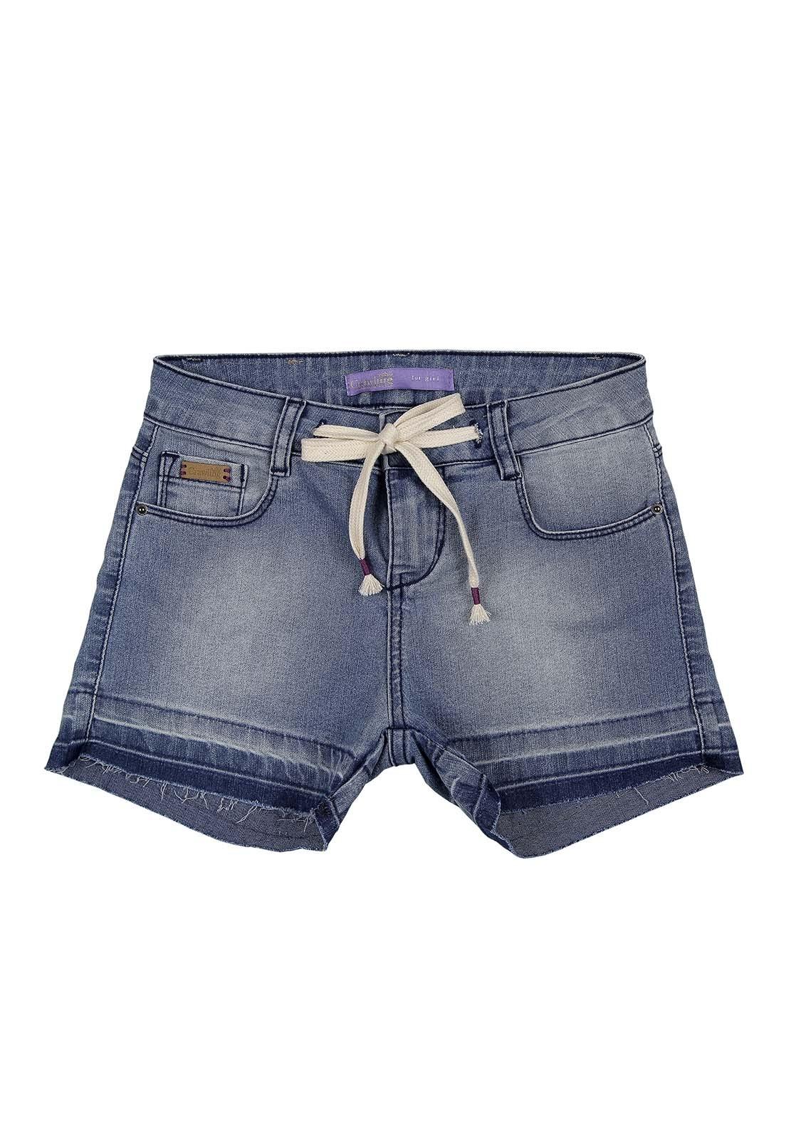 Short Jeans Feminino com Cordão