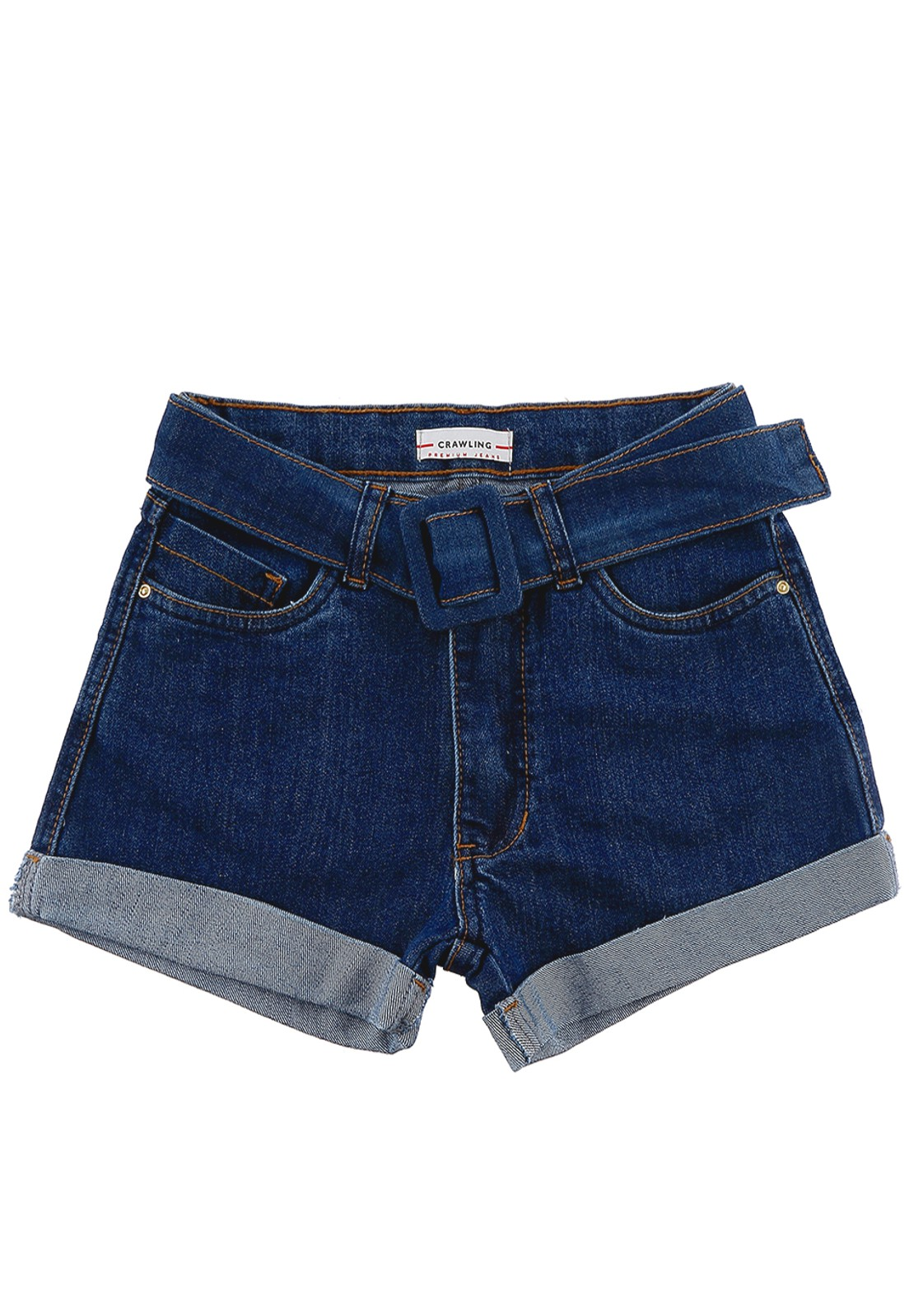 Short Jeans Feminino Crawling C/Cinto