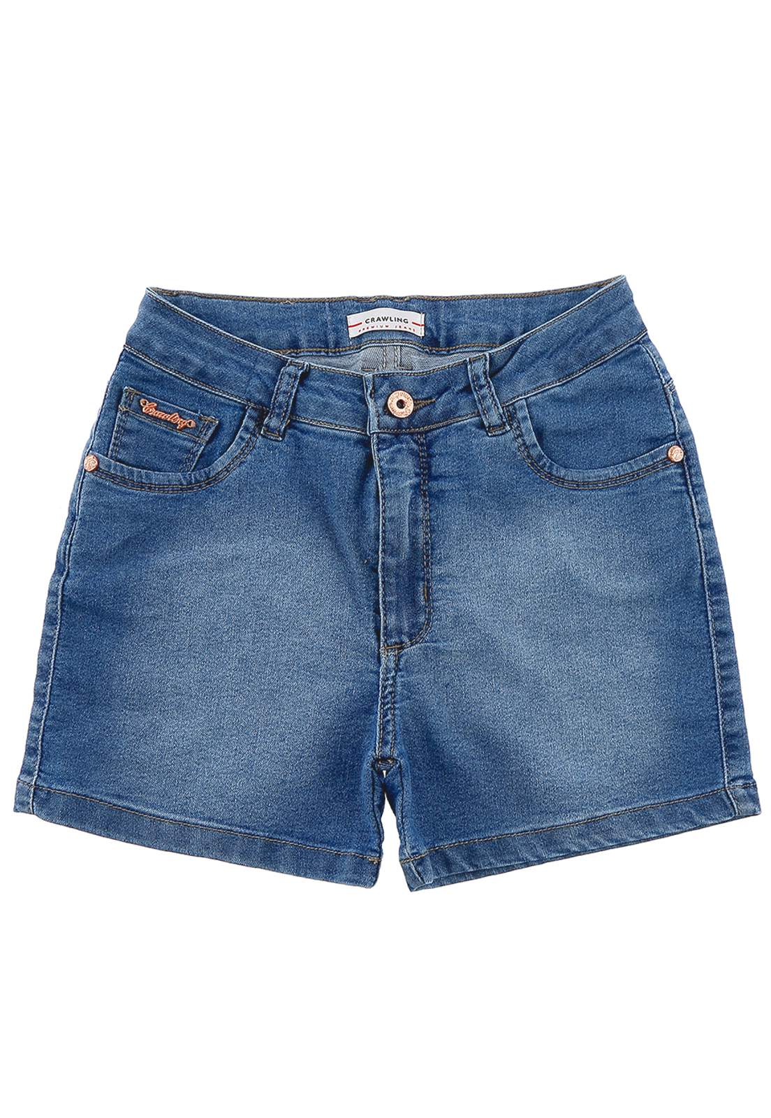 Short Jeans Feminino Meia Coxa Crawling
