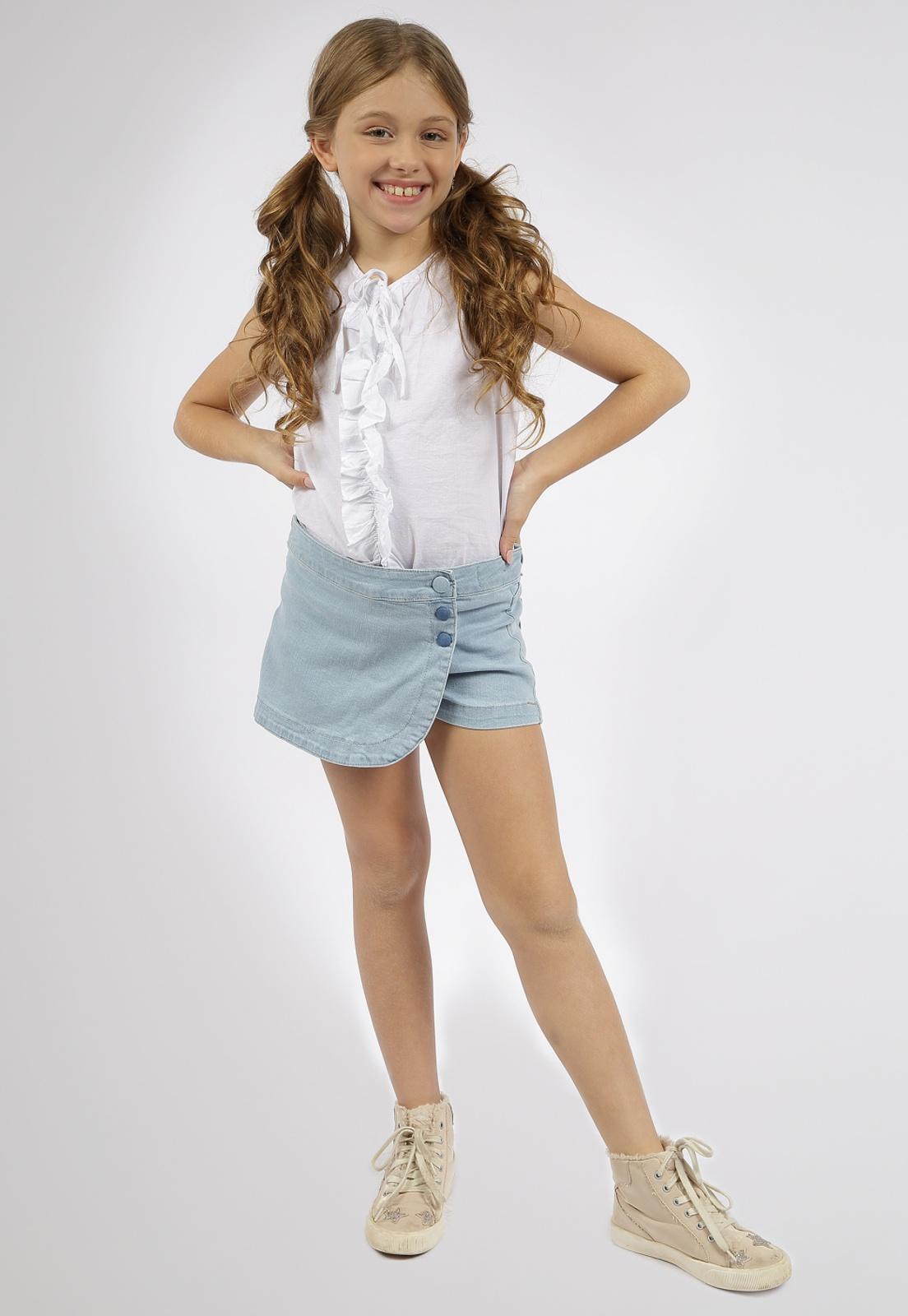 Short Saia Jeans Crawling Feminino