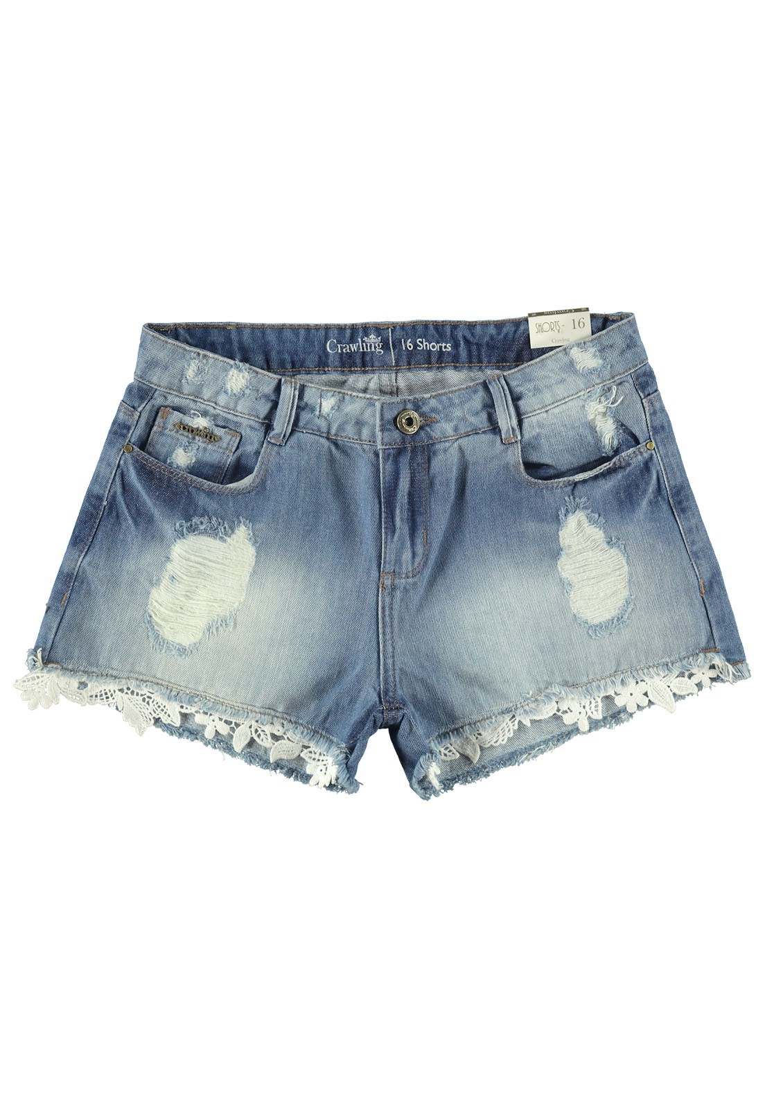 Shorts Feminino Crawling Jeans C/Renda