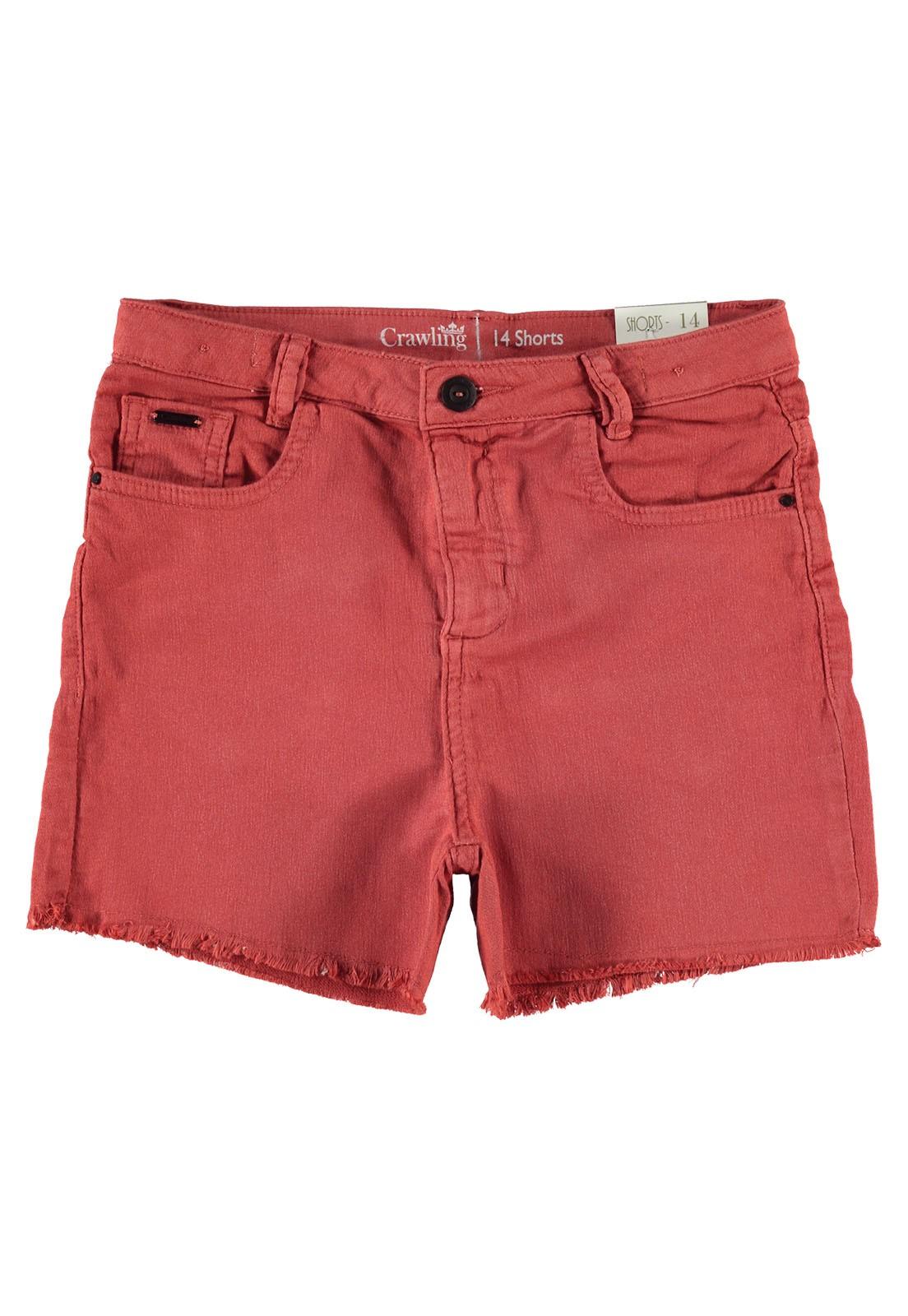 Shorts Feminino Crawling Sarja Moletom Barra Fio