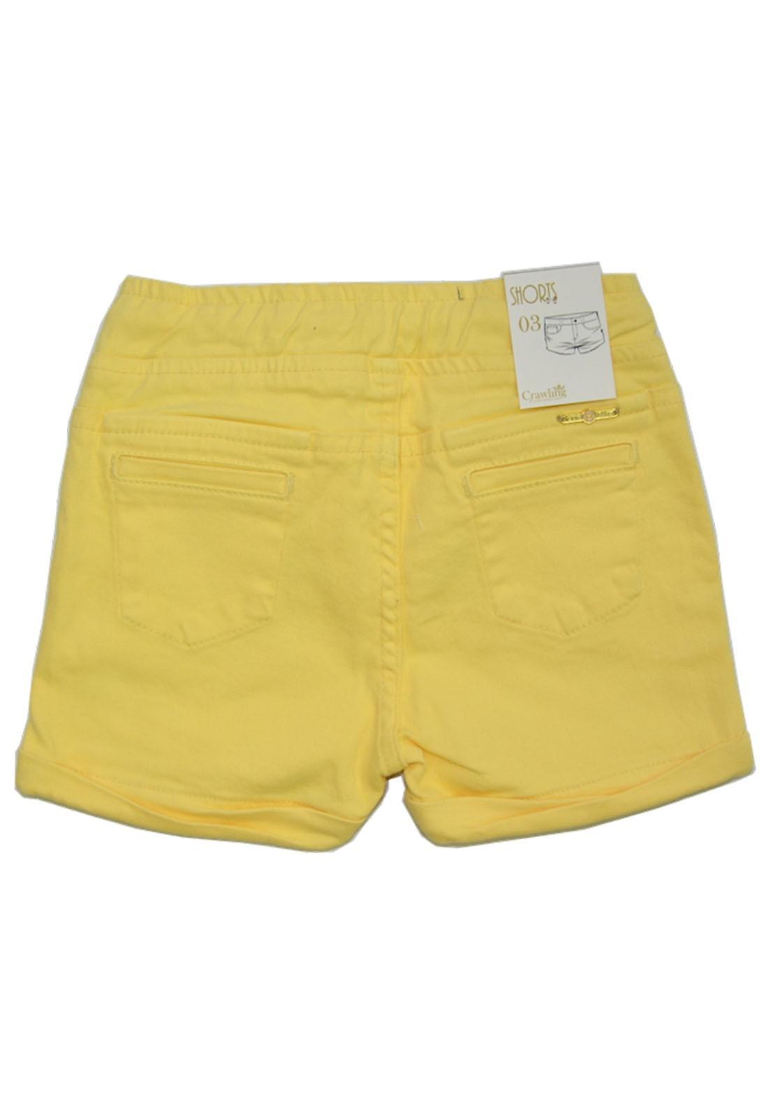 Short Feminino Color Com Elástico e Cordão Crawling Jeans