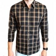 Camisa Ellus manga longa xadrez marrom