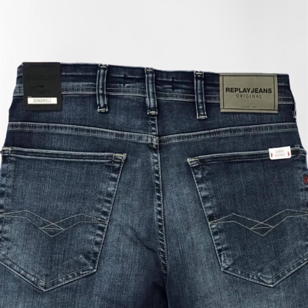 Calça jeans replay jondrill super skinny blue escuro